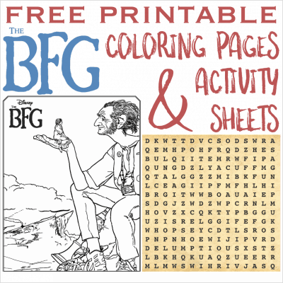 THE BFG Printable Coloring Pages and Activity Sheets #TheBFG