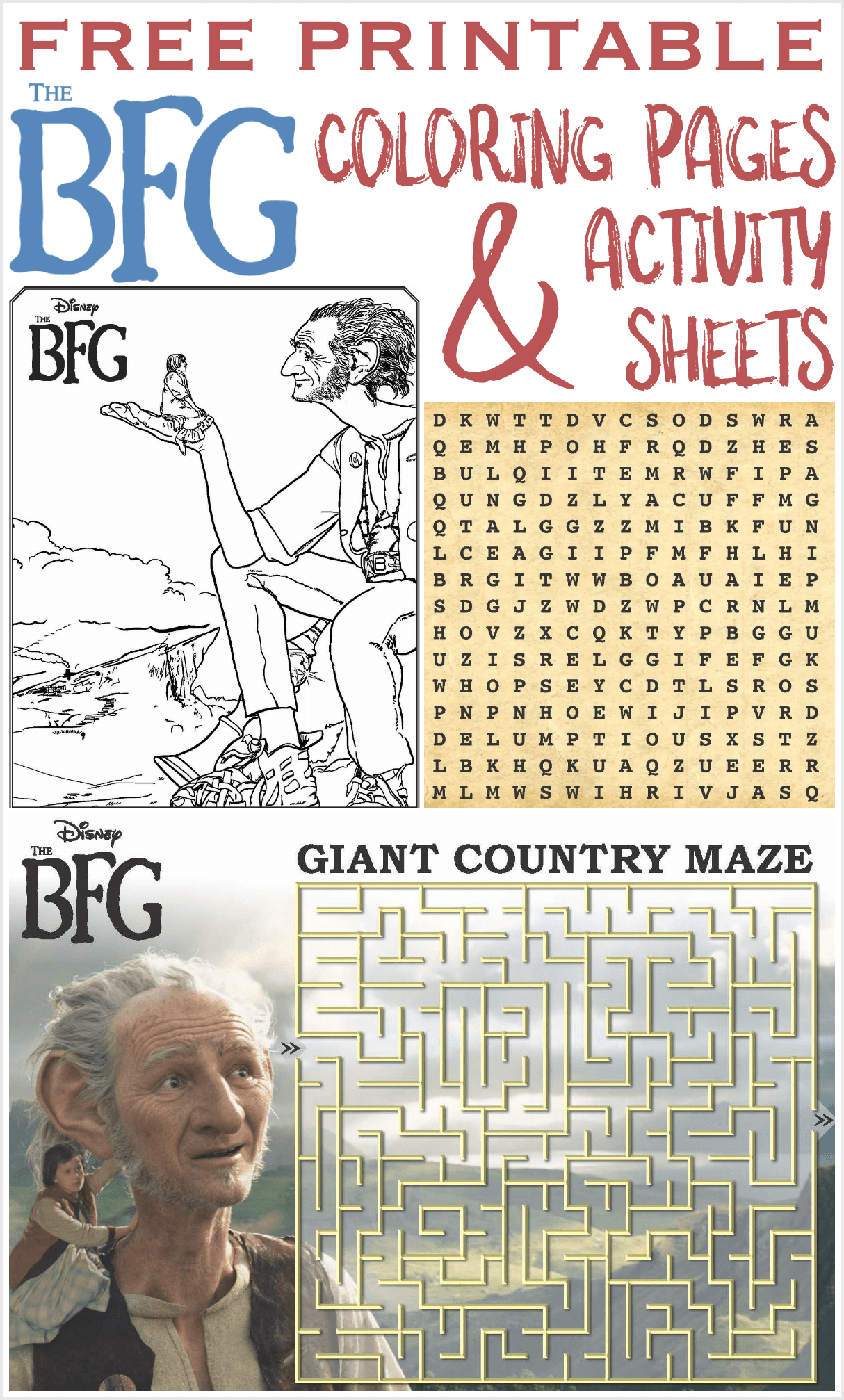 The BFG printable coloring pages activity sheets