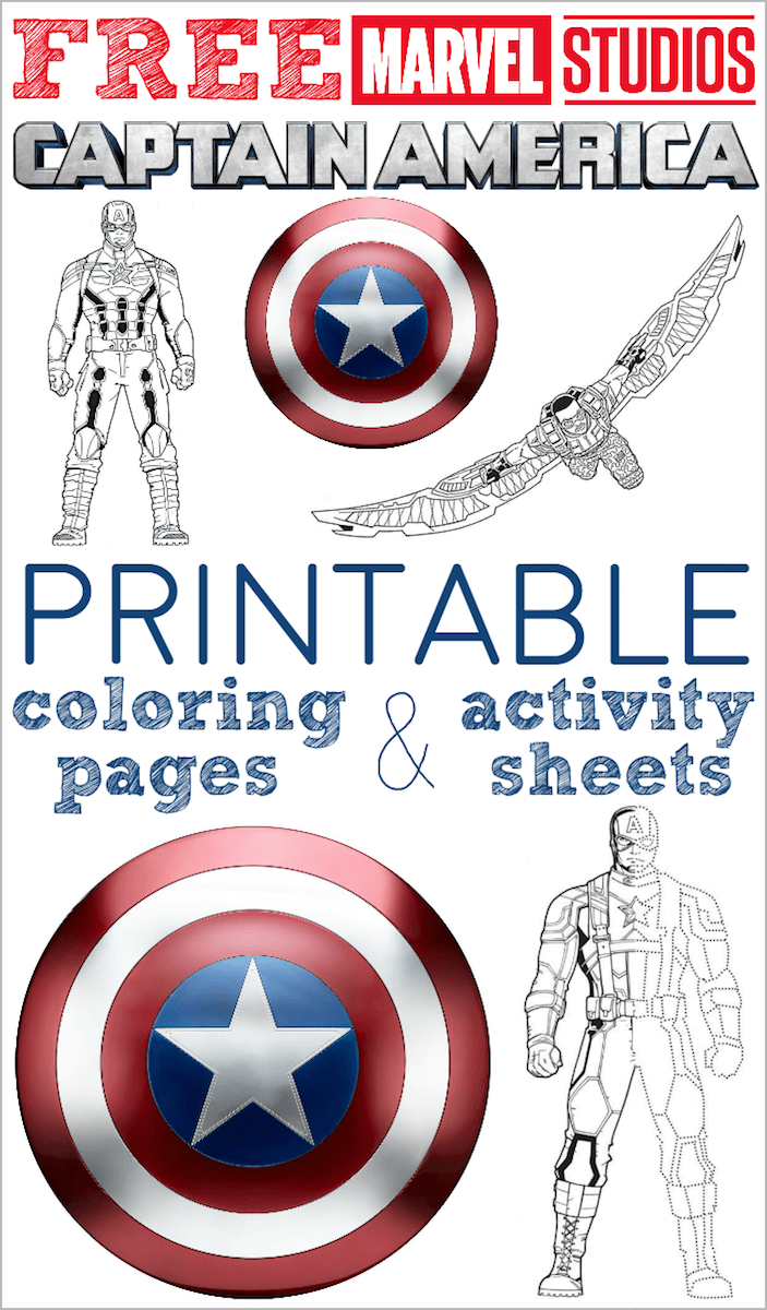 Captain America coloring pages activity sheets