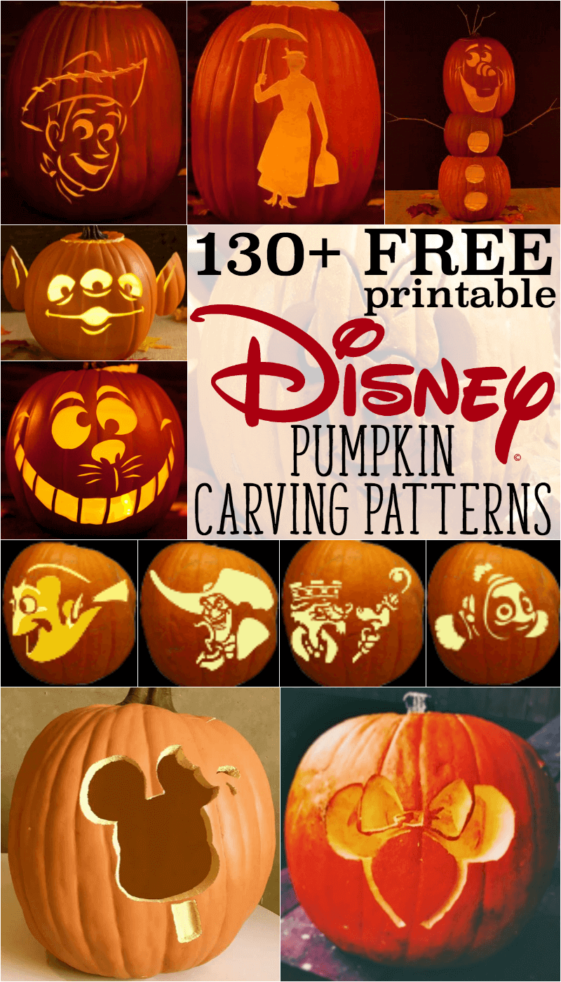 Disney pumpkin stencils over printable patterns