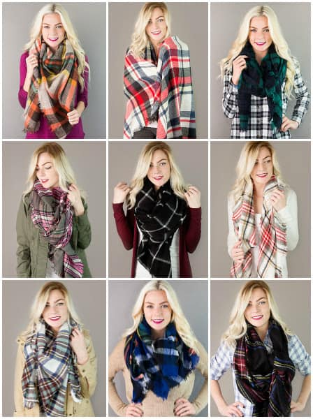 lowest price plaid blanket scarves