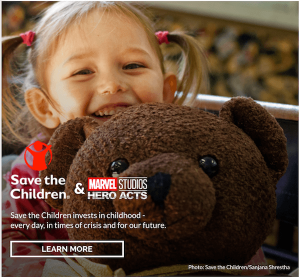 marvel studios hero acts save the children