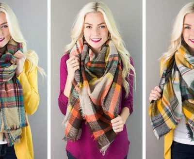 Berlin Plaid Blanket Scarves $12.95 Each, Free Shipping