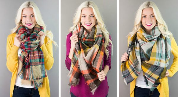 plaid blanket scarves low prices