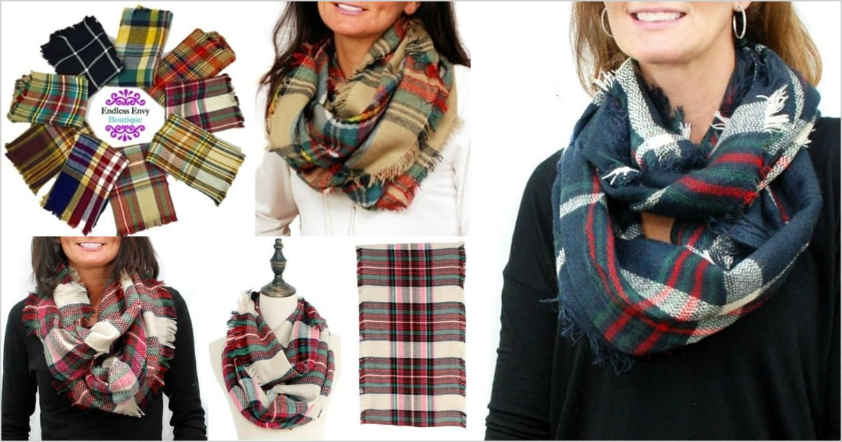 plaid infinity blanket scarves