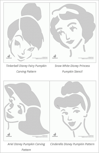 princess Disney pumpkin stencils