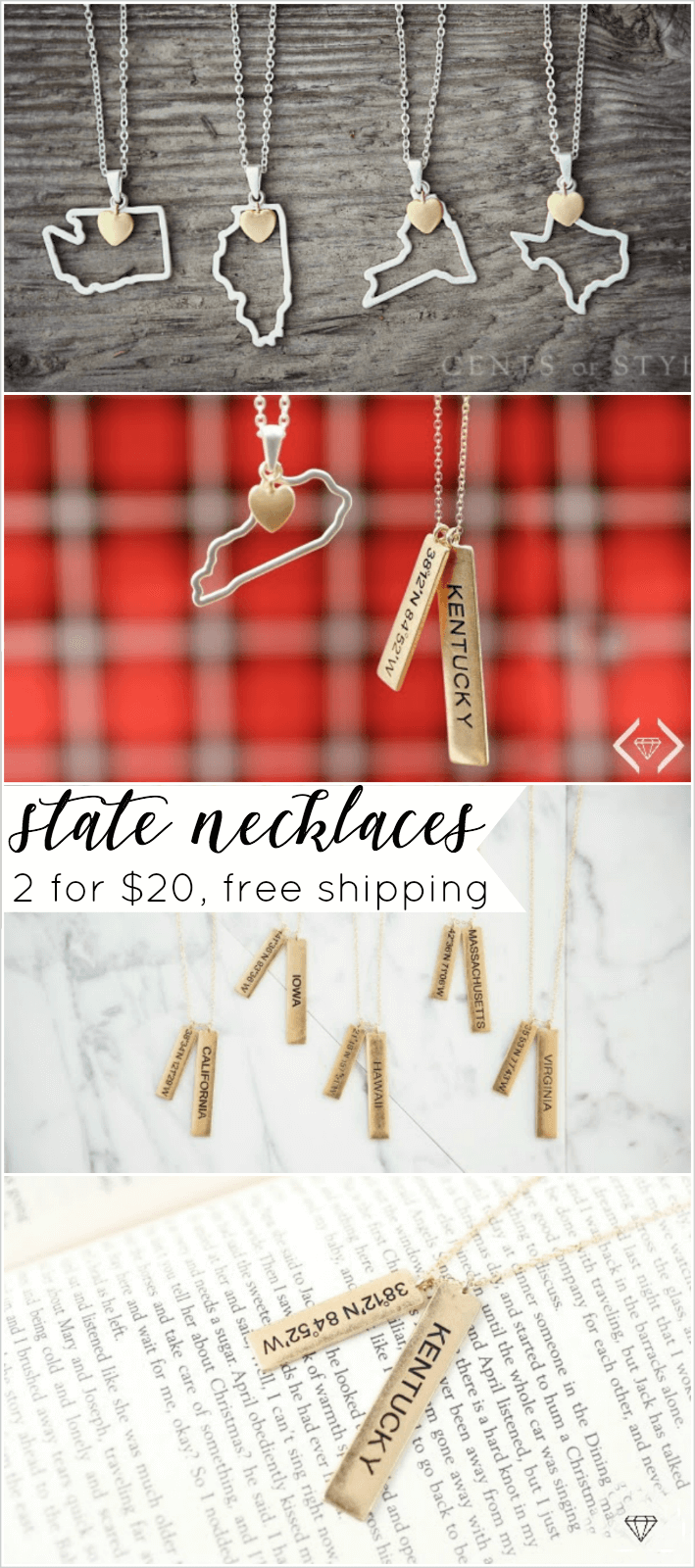 state necklace silver and gold