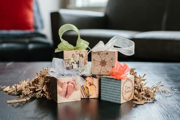 wooden cube block photo ornaments